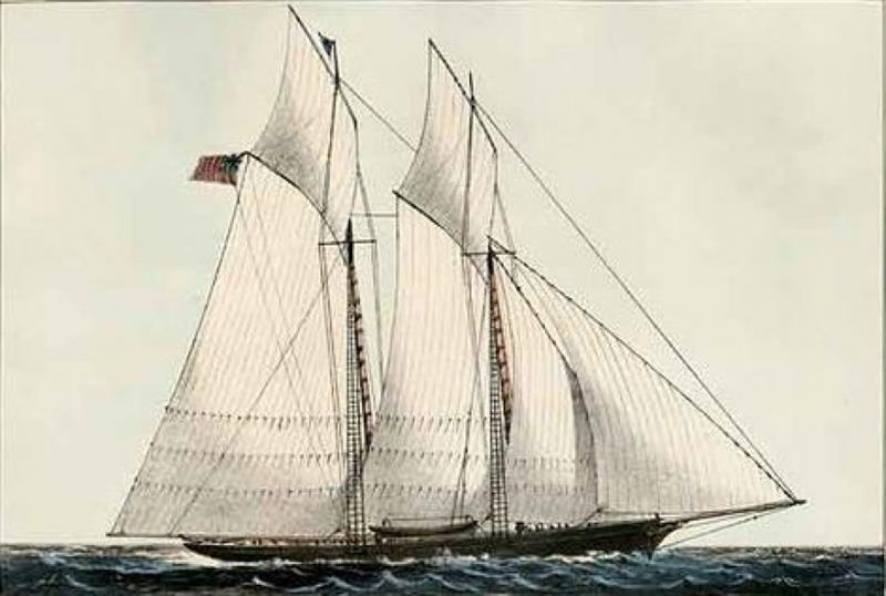 Hand colored lithograph of Schooner Yacht Cambria photo copyright America's Cup taken at New York Yacht Club and featuring the ACC class