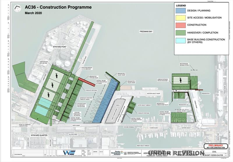 AC36 Base construction plan - since amended - showing America's Cup base layout - Wynyard Point (left), Halsey Street Extension (centre) and Hobson Wharf extension (right) - photo © Wynyard Edge Alliance