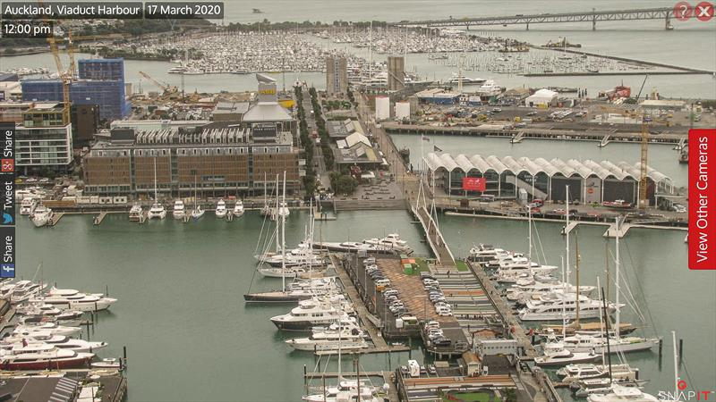 Webcam image of America's Cup base area. Hobson Wharf is out of sight at the bottom of the image. Emirates Team NZ base (centre). Wynyard Basin and Wynyard Point next with Westhaven marina behind. - photo © SnapIT