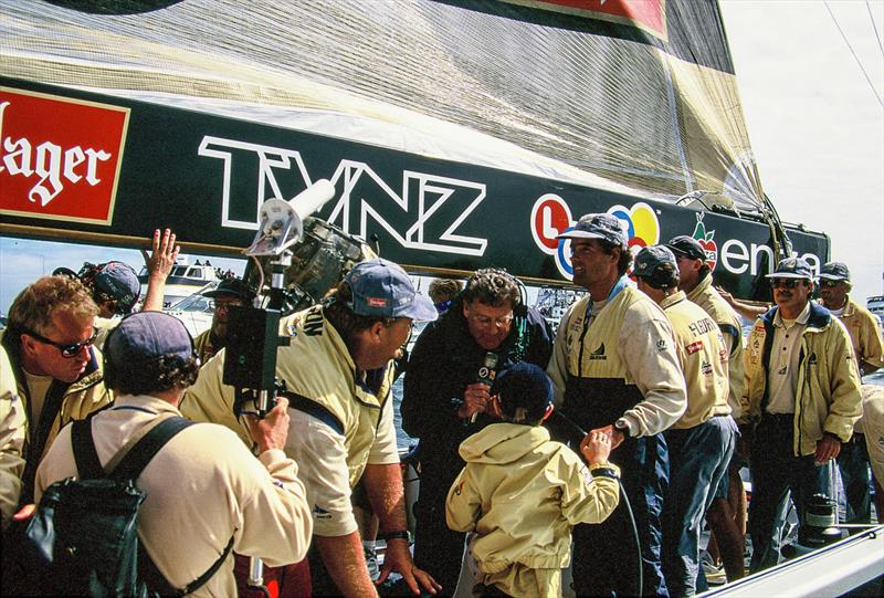 PJ Montgomery interviews Grayson Coutts - 1995 America's Cup, San Diego, May 13, 1995 - photo © Sally Simins