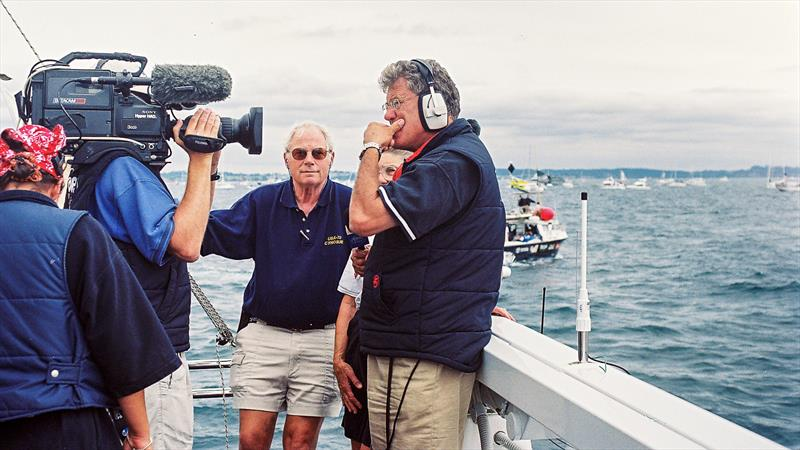 Peter Montgomery broadcasting from NorthStar, during the the 2003 America's Cup, with the late Terry Kohler looking on - photo © Bambery Photography
