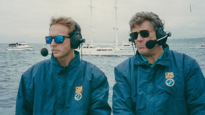 Peter Montgomery with co-commentator Glen Sowry - 1992 America's Cup, San Diego. - photo © Montgomery archives