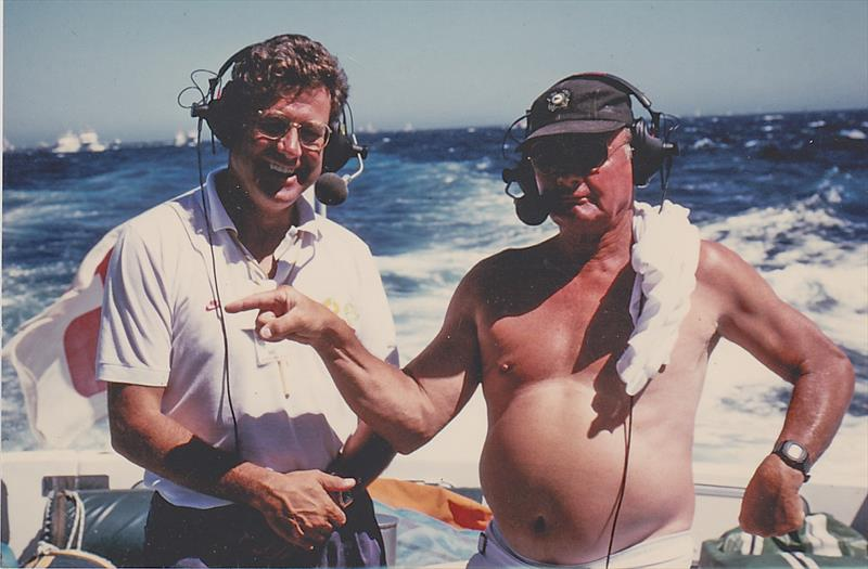 Peter Montgomery with co-commentator, and one of the world's greatest sailors, Buddy Melges (USA) aboard Kookaburra's tender - 1987 America's Cup, Fremantle. - photo © Montgomery archives