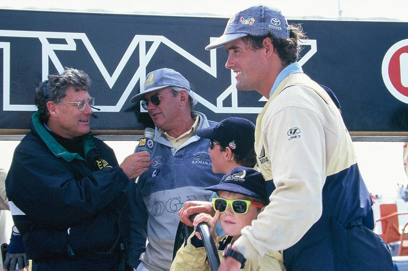 Peter Montgomery interviews Alan Coutts, Russell Coutts father, along with his son, Grayson and a friend. America's Cup win 1995 in San Diego. - photo © Montgomery archives