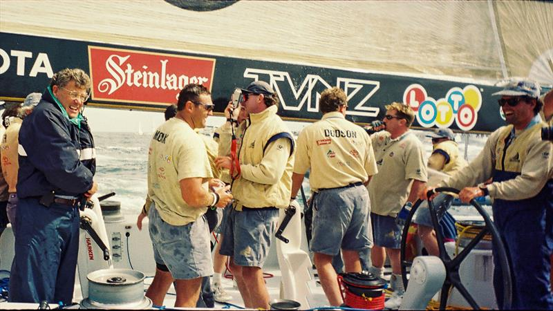 Peter Montgomery aboard NZL-32 after the America's Cup win in 1995 - photo © Montgomery archives