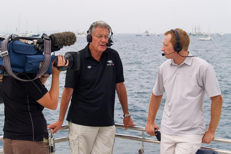 Peter Montgomery with double America's Cup champion Jimmy Spithill (AUS) who was a co-commentator at the 2007 America's Cup after Luna Rossa was excused after losing the Final 5-0 to Team NZ - photo © Montgomery archives