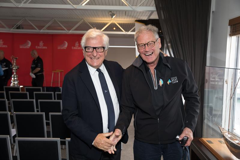 Luna Rossa's Patrizio Bertelli with PJ Montgomery at the Auckland on the Water Boat Show - photo © Hamish Hooper / ETNZ