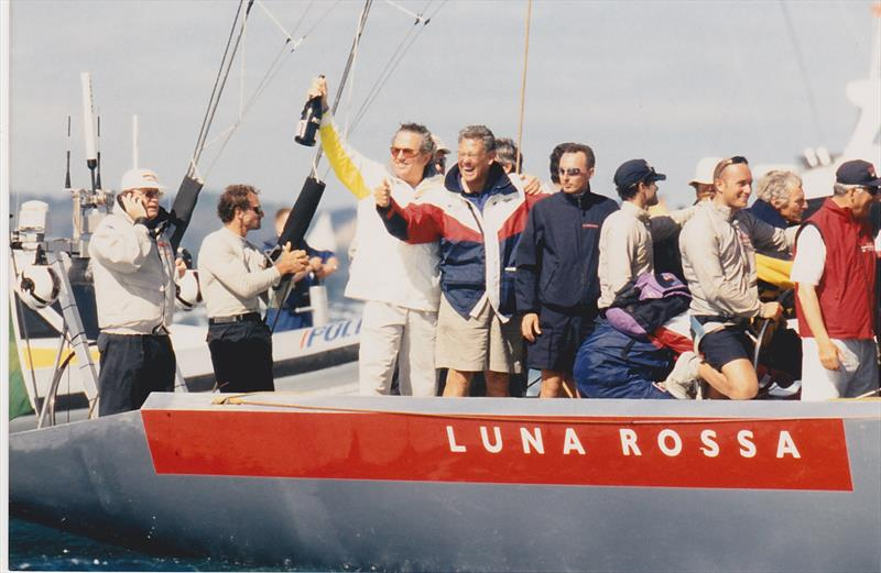 Bruno Trouble (holding champagne) with PJ Montgomery - on Luna Rossa - 2000 Louis Vuitton Cup winners - photo © Montgomery archives
