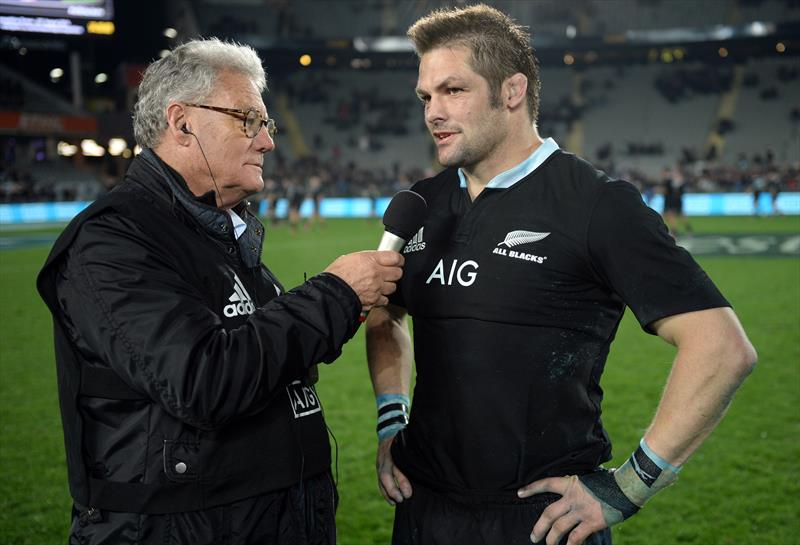 PJ Montgomery does his last sideline interview with All Black great Ritchie McCaw - August 2014 - photo © Andrew Cornaga / www.Photosport.co.nz