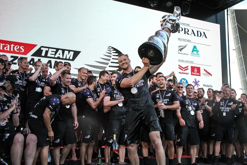 Grinder Steven Fergusson lifts the Cup high - Emirates Team NZ - America's Cup - Day 7 - March 17, 2021 - photo © Richard Gladwell / Sail-World.com