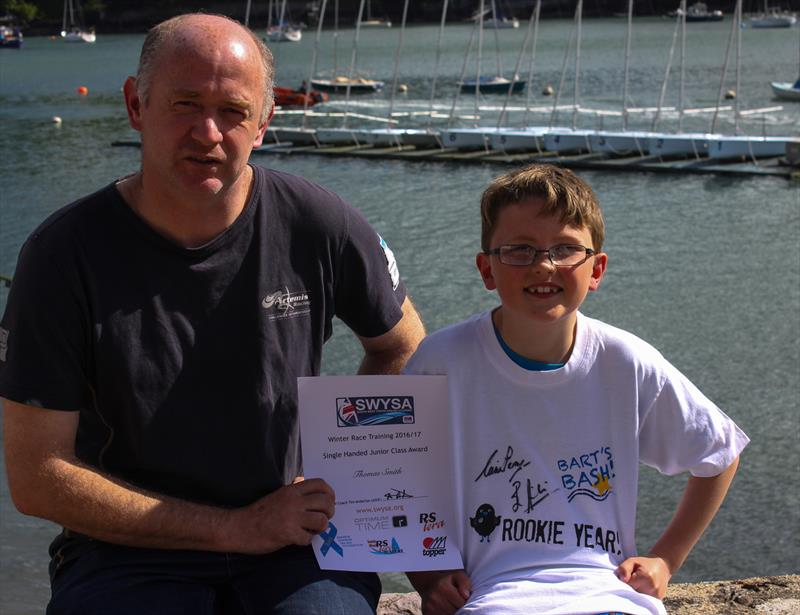 Tim Anderton from the ASF with Thomas Smith during the Optimum Time, RS Sailing Store Regatta on the final South West Youth Sailing Academy weekend - photo © Nicholas James