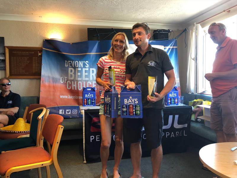 Kathy Sherratt & Josh Wilce finish 2nd in the Gul B14 Nationals at Paignton photo copyright Al Storer taken at Paignton Sailing Club and featuring the B14 class