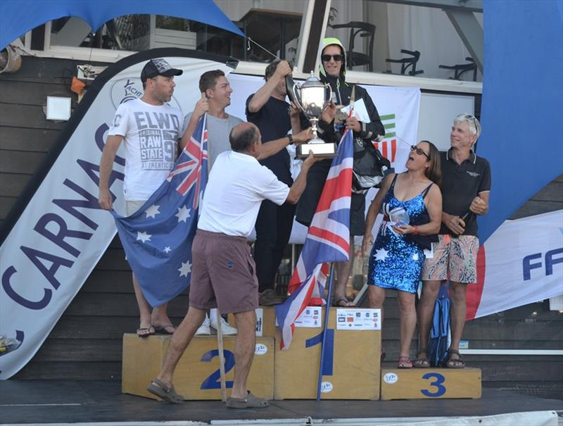 Podium in the B14 Worlds at Carnac photo copyright Alex Hayes taken at Yacht Club de Carnac and featuring the B14 class