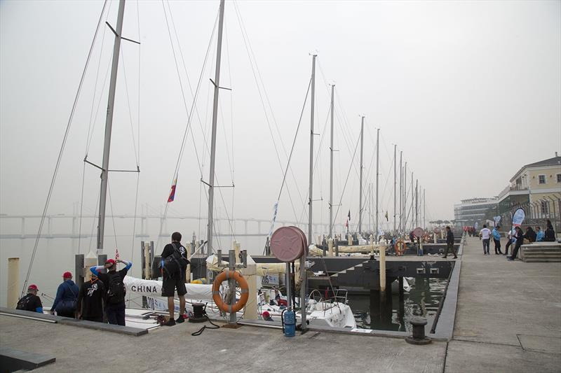 Macau Cup 2018. AP on shore - no breeze, and fog at Fisherman's Wharf. photo copyright Guy Nowell taken at  and featuring the Beneteau 40.7 class