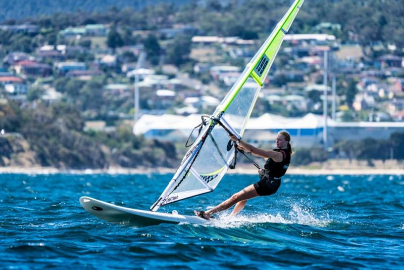 Amelia Quinlan is the only girl racing in the Bic Techno Plus sailboards - Day 3, Australian Sailing Youth Championships 2019 - photo © Beau Outteridge