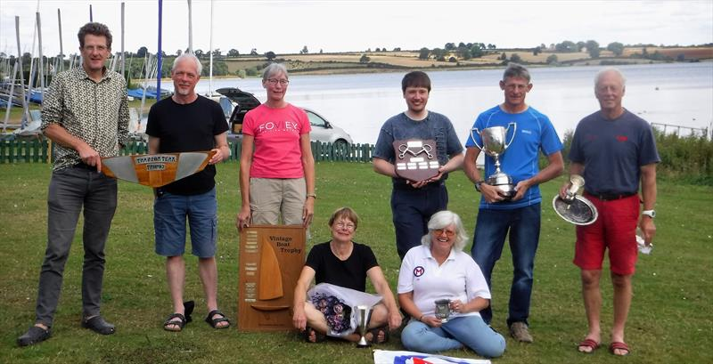 Prize winners in the British Moth Nationals (l-r) Robert Paynter, Toby Smith, Elaine Gillingham, Abby Freeley, Jonathan Twite, Jenni Heward-Craig, Toby Cooper, Tim Davison - photo © British Moth Boat Association