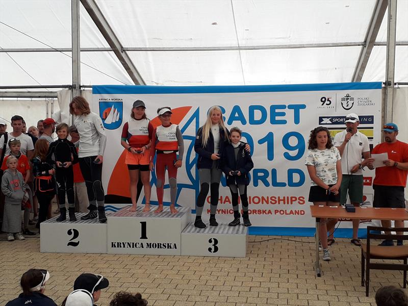 Katie Yelland & Dom Rowell finish 3rd in race 2 on day 1 of the Cadet Worlds 2019 in Poland - photo © Cadet Worlds 2019