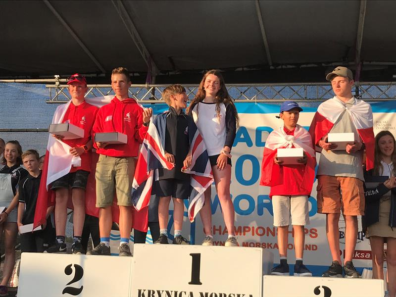 Promo Regatta Podium - overall winners Daisy Nunn & Oscar Bush - at the World Cadet in Poland - photo © International Cadet Class