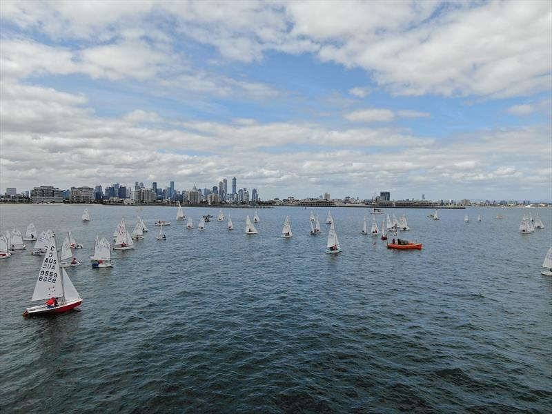 The waters off Williamstown provide sailors with a stunning view of the Melbourne skyline photo copyright Harry Fisher taken at Royal Yacht Club of Victoria and featuring the Cadet class