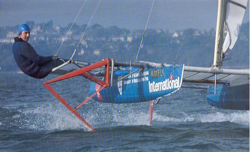 The other great partnership that underpinned foiling at Weymouth Speed Week was Philip Hansford's single handed Mayfly - photo © Guy Gurney