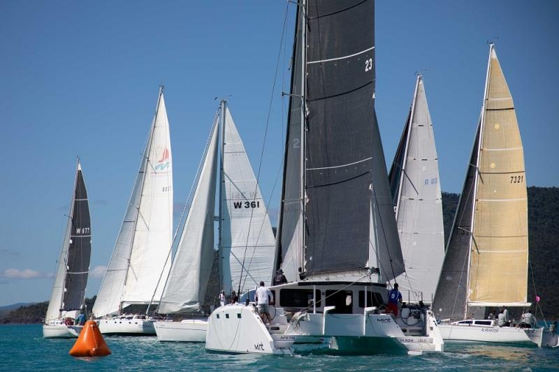 Multihull Mint pushes her way through the monohulls - 2020 Airlie Beach Race Week, final day - photo © Shirley Wodson / ABRW