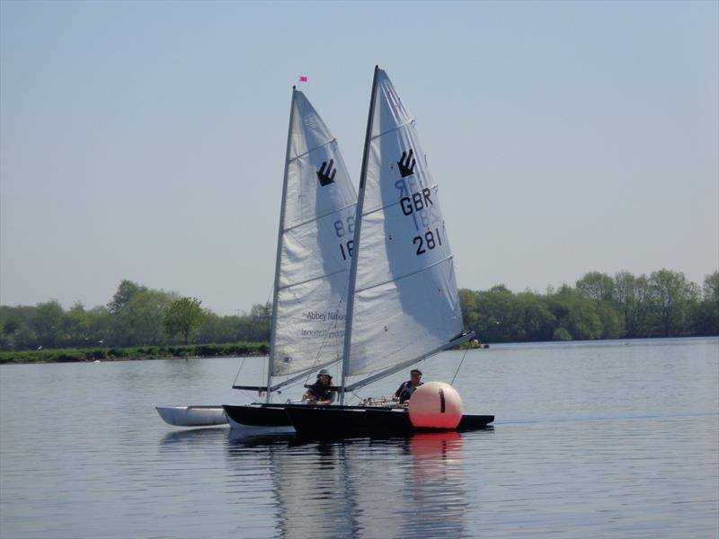 Jack Alderdice (281) and Mark Fletcher (168) during the Burghfield Challenger Regatta - photo © Marion Edwards