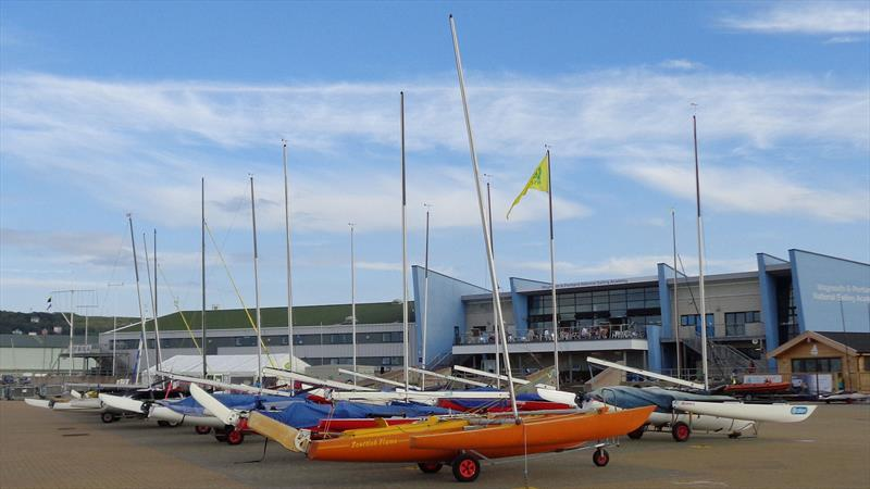 Challengers lined up at the iconic WPNSA building, ahead of the RYA Sailability Multiclass Regatta 2019 - photo © Marion Edwards