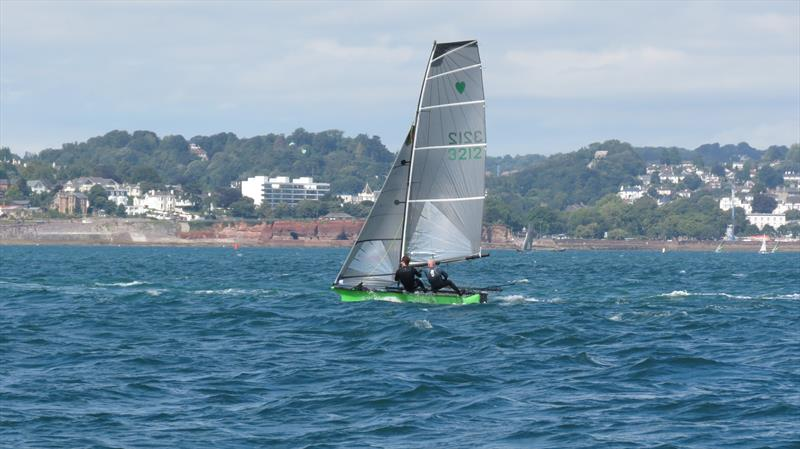 The bridesmaid no more! Paul Croote and Ed Higham powering on to win the Cherub Nationals in Torbay - photo © David Hand