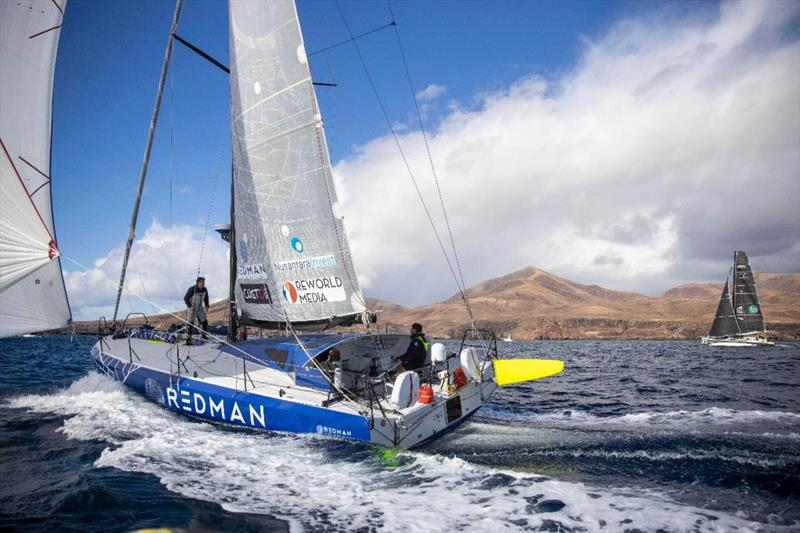 Start of the 2021 RORC Transatlantic Race from Puerto Calero, Lanzarote - Atlantic Class40 duel begins between Antoine Carpentier's Redman and Olivier Magre's Palanad 3 - photo © James Mitchell / RORC