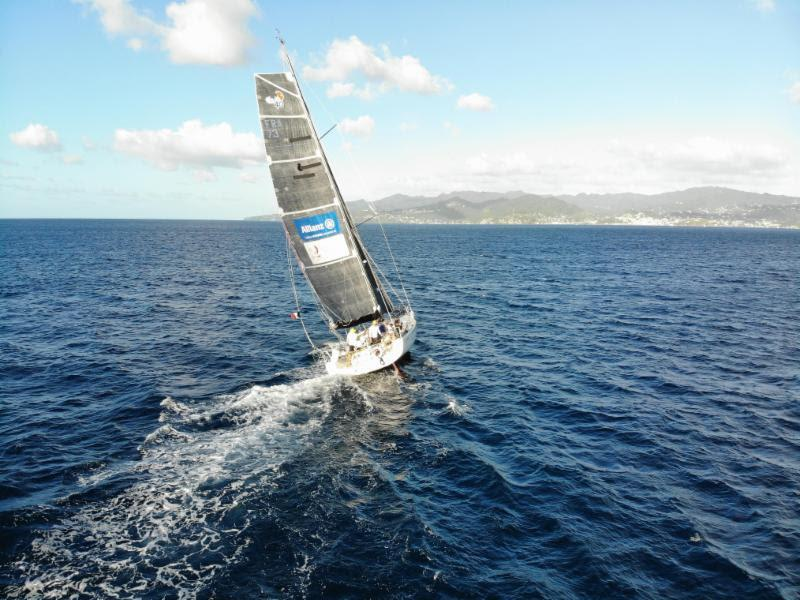 Andrew Richards' drone captures Class40 Sirius as she makes her way to the finish line in Grenada - 2018 RORC Transatlantic Race - photo © RORC / picturesofgrenada.com