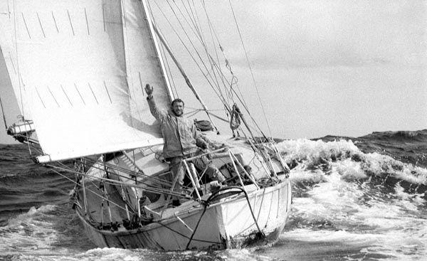 Robin Knox-Johnston aboard Suhaili at the finish of the 1968 Sunday Times Golden Globe Race photo copyright Bill Rowntree / PPL taken at  and featuring the Classic Yachts class