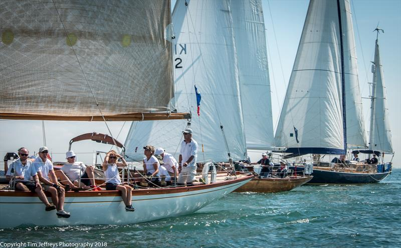 Class 2 finds enough wind fo some close quarters battles on day 3 of Cowes Classics Week - photo © Tim Jeffreys Photography