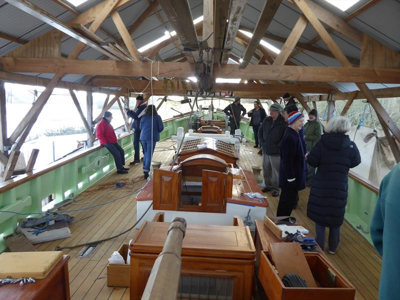 """Pellew"", a deck view of Pellew - the faithfully reconstructed Falmouth Pilot Cutter based on the ""Vincent"" photo copyright John Gallagher taken at  and featuring the Classic Yachts class"