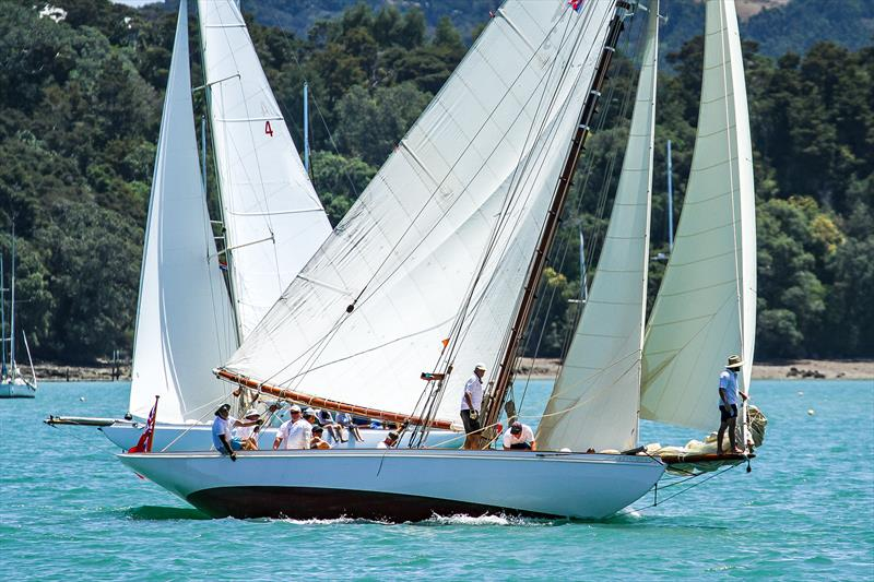 Ariki crosses ahead of Iorangi - Mahurangi Cruising Club Regatta - January 2020 - Mahurangi Harbour photo copyright Richard Gladwell / Sail-World.com taken at  and featuring the Classic Yachts class