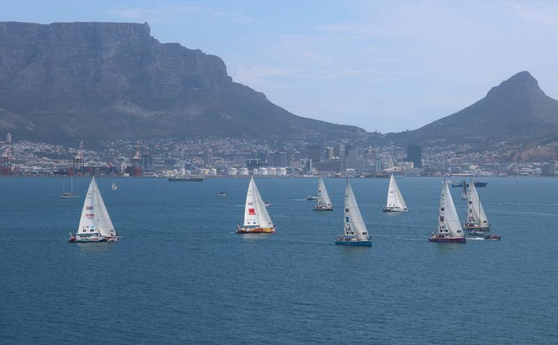 The Clipper 2017-18 Race fleet depart Cape Town for Race 3: The Dell Latitude Rugged Race photo copyright Clipper Ventures taken at  and featuring the Clipper 70 class