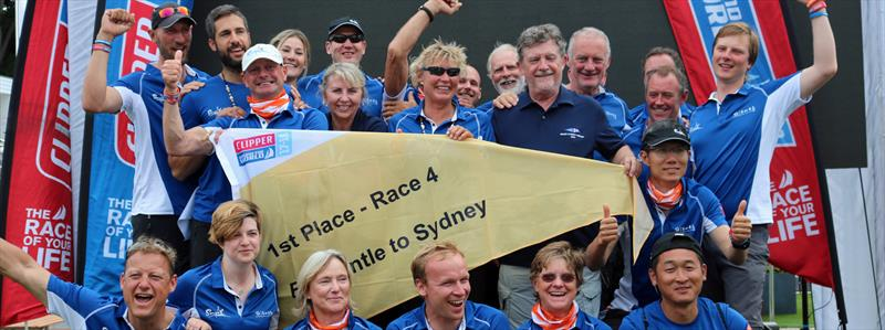 Team Sanya Serenity Coast, led by skipper Wendy `Wendo` Tuck (AUS; center, with shades), celebrate winning the Jane Tate Memorial Trophy for the first female-skippered boat to cross the finishing line in the 2017 Sydney Hobart Race photo copyright Image courtesy of the Clipper Round The World Yacht Race taken at  and featuring the Clipper 70 class
