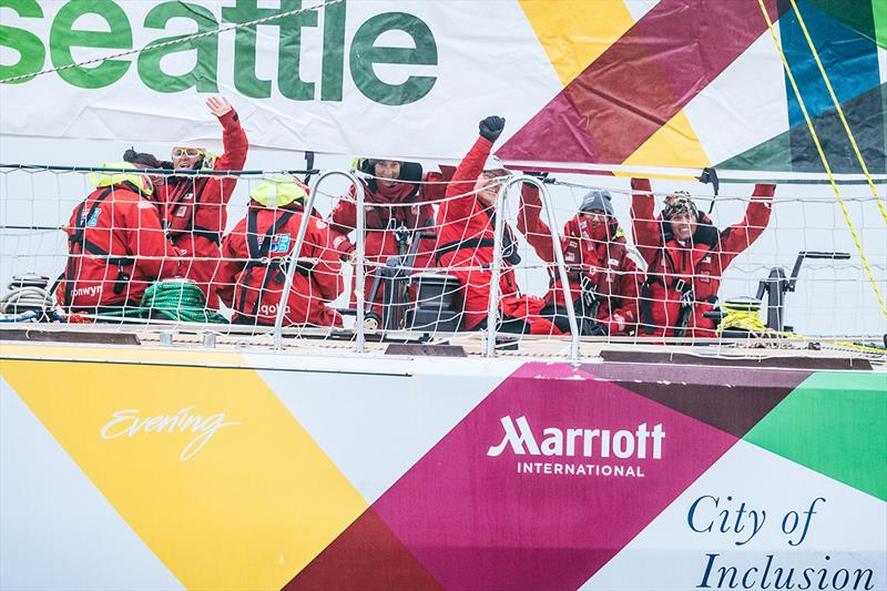 Marriott logo on Visit Seattle (coming into Qingdao) - Clipper 2017-18 Race - photo © Clipper Race