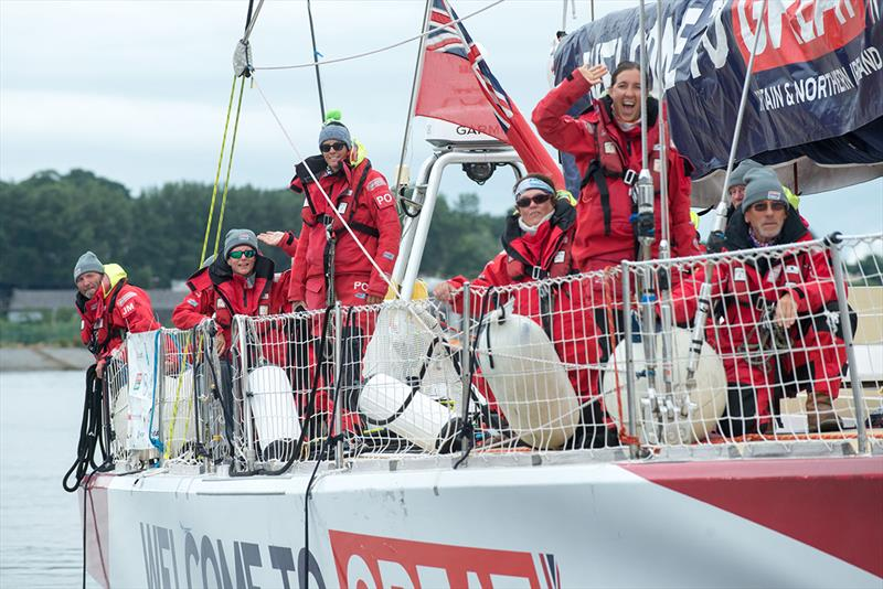 The crew of the Clipper Yacht Great Britain arrive in Derry-Londonderry this morning after completing Race 12, the LegenDerry race from New York as part of the circumnavigation of the world's oceans. - photo © Martin McKeown