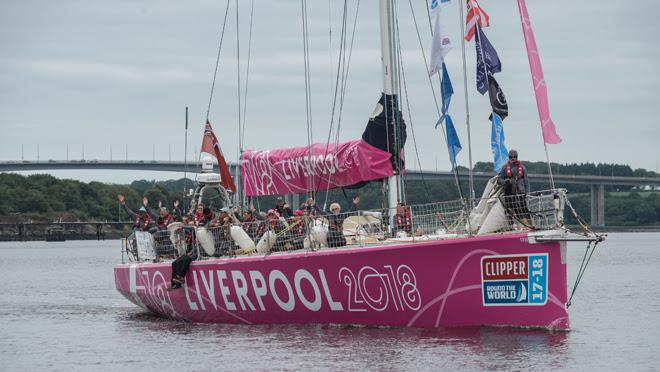 The crew of the Clipper Round the World Yacht Liverpool arrive in Derry-Londonderry on Thursday afternoon after completing their transatlantic race from New York. - photo © Martin McKeown