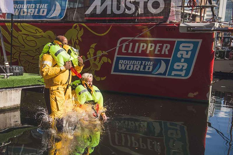 Clipper 2019-20 Race: Donna makes a splash in St Kats, London, during the launch of the Clipper Race Musto partnership - photo © Martin Allen Photography