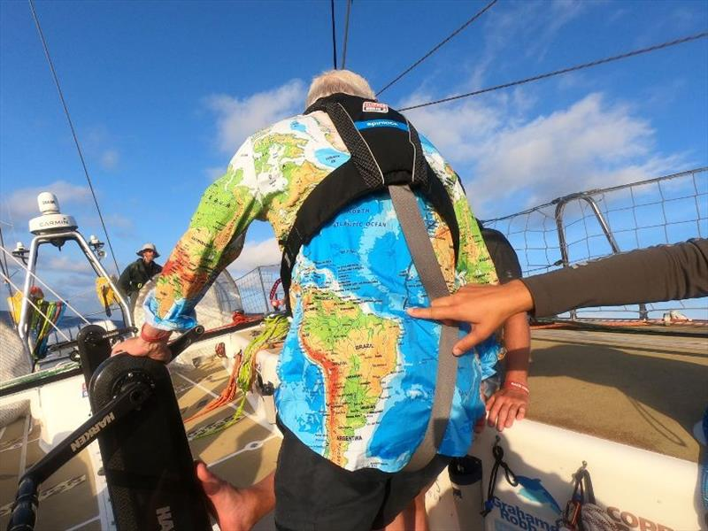 Dare To Lead crew member wears his equator crossing shirt - can you spot the route? - The Clipper Race Leg 1 - Race 2, Day 16 - photo © Clipper Race