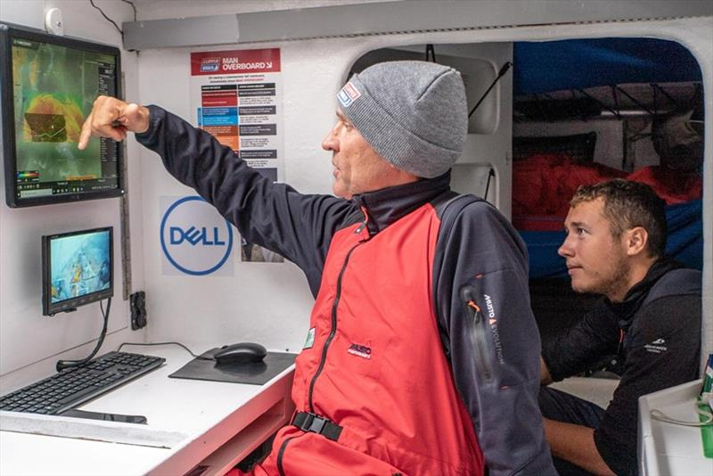 Skipper Guy Waites and AQP Hugues Stellio analyse the TIMEZERO navigation software on board Dare To Lead - The Clipper Race Leg 3 - Race 4, Day 8 - photo © Clipper Race