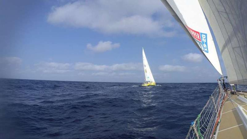 On the tail of Punta del Este, shot from Dare To Lead - The Clipper Race Leg 6 - Race 9, Day 3 - photo © Clipper Race
