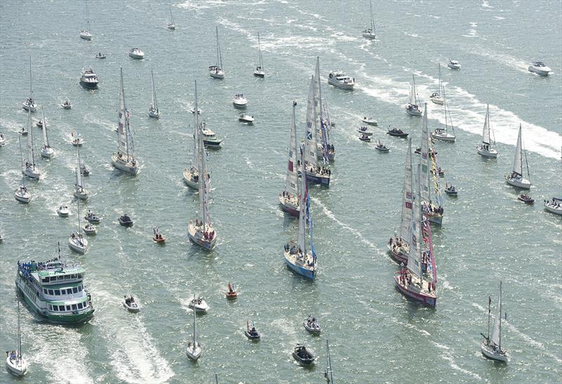 The homecoming fleet of all participating boats of The Clipper 11-12 Round the World Yacht Race. Race 15 is the final race of this edition of the Clipper Race and as all ten yacht entries complete their circumnavigation in Southampton on Sunday 22 July. - photo © Clipper Race