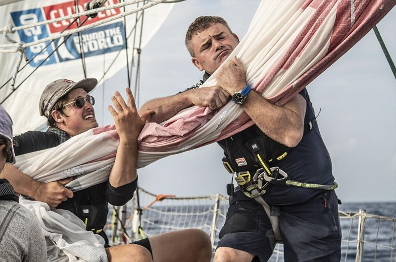 Dario and Stuart pulling the code - Clipper Round the World Race - photo © Clipper Race