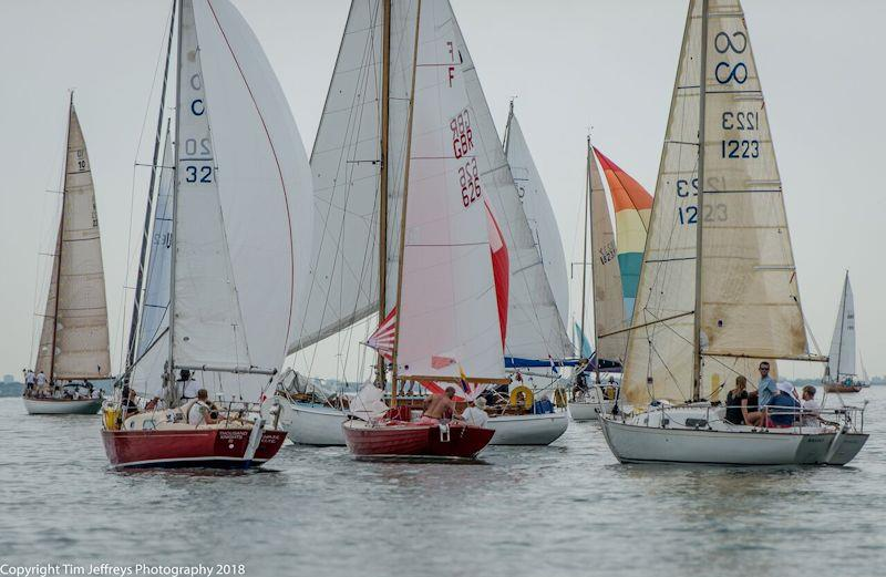 Contessa 26s and Folkboats coax the wind on the first leg of day 5 of Cowes Classics Week - photo © Tim Jeffreys Photography