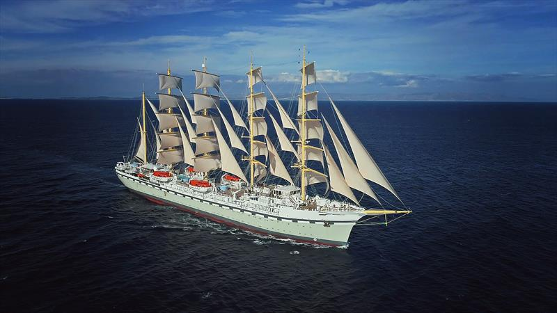 The world's largest square-rigged sailing vessel, Golden Horizon