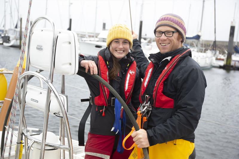 Daniel Smith and Becky Jeffrey onboard their boat InTuition in Largs - photo © RYA Scotland