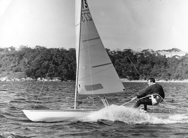 Designer Bob Miller out on Skippy, the demonstration Contender. That the Australian boat never made it to the Olympics says more about how our sport is run than it does on the excellent qualities of this superb boat! - photo © Bob Ross