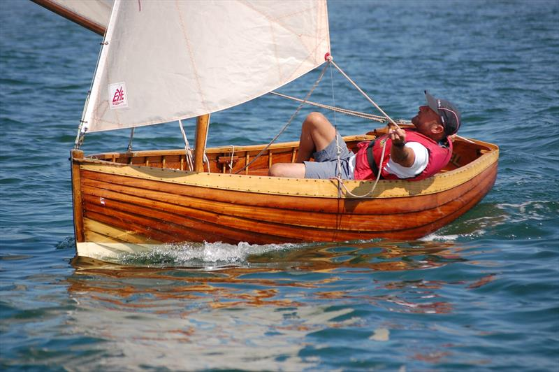 Nigel Daniels in his beautifully presented Axe OD (showing how originality can be preserved, yet still allow the boat to race successfully) a worthy winner of the Concours prize at the Bosham Classic Boat Revival 2018 - photo © Dougal Henshall